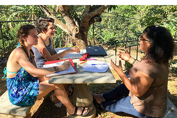 Eimile Marie Kavanagh (front left) and Makaena Durias (back left) learn Spanish from instructor Ana Cubillo